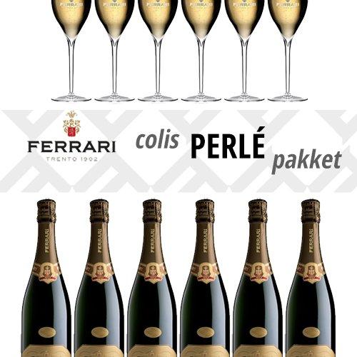 Ferrari Perlé 6 flessen + 6 gratis glazen